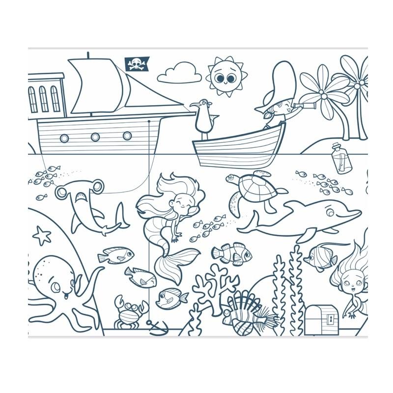 graffy roll kleurplaat op rol piraten en zeemeerminnen